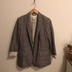 H&am brown & tan plaid blazer